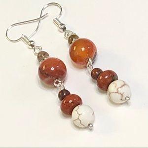 Orange Agate Red Jasper Howlite Unakite Earrings